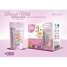 Autumnz - Double ZipLock Breastmilk Storage Bag (28 bags) with THERMAL SENSOR *12oz* (GIRAFFE)