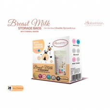 Autumnz - Double ZipLock Breastmilk Storage Bag (28 bags) with THERMAL SENSOR *8oz* (LADYBIRD)