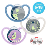 NUK- Space Night Silicone Soother S2 W/Cover (6-18m) *1pcs* Best Buy