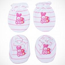 Adorable Mitten Booties Set - Rabbit (Pink)