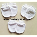 Adorable - 3 pairs of Scratch Mittens *Plain White*