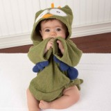 Adorable - Soft Hooded Bath Robe *My Green Little Night Owl*