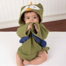 Adorable - Soft Hooded Bath Robe *My Green Little Night Owl*