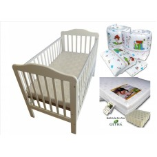 Seni Daya - 4-in-1 Convertible Cot (SDB893) & LATEX Mattress & 7pcs Crib Set Package