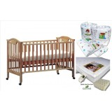 Seni Daya - 4-in-1 Convertible Cot (SDB860) & LATEX Mattress & 7pcs Crib Set Package