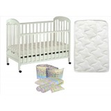 Seni Daya - Standard Baby Cot (SDB823) & FIBER Mattress & 7pcs Crib Set Package