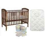 Seni Daya - Standard Baby Cot (SDB892) & FIBER Mattress & 7pcs Crib Set Package