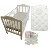 Seni Daya - 4-in-1 Convertible Cot (SDB893) & FIBER Mattress & 7pcs Crib Set Package