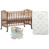 Seni Daya - 4-in-1 Convertible Cot (SDB860) & FIBER Mattress & 7pcs Crib Set Package