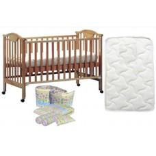 Seni Daya - 4-in-1 Convertible Cot (SDB860) & FIBER Mattress & 7pcs Crib Set Package