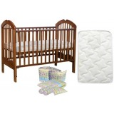 Seni Daya - 4-in-1 Convertible Cot (SDB886) & FIBER Mattress & 7pcs Crib Set Package