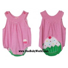 Adorable U-Neck Romper *Cupcake (Stripy Pink)*