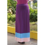 Autumnz - Colour Block Maternity Long Skirt  *Purple*
