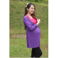 Autumnz - Myra 2-in-1 Maternity/Nursing Tunic (Purple/Rose)