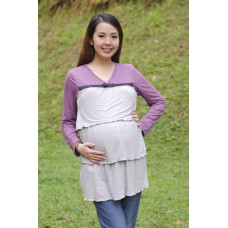 Autumnz - Merilyn Long Sleeved NursingTunic (Pewter)