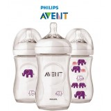 Philips Avent - Bottle Natural 260 ML/9OZ - Elephant *Girl* (Single Pack)
