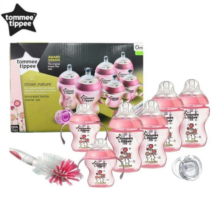 Decorated Tommee Tippee Closer to Nature Newborn Bottle Starter Set Pink