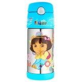 Thermos - 12oz/355ml Funtainer *Dora The Explorer* Ice Cold Bottle with Straw F4001DR6 *BEST BUY*