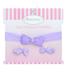 Autumnz - Baby Headband & Hairclips *Grace Lilac*