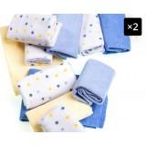 Adorable - 12pcs Comfy Washcloth *Blue with Spots*